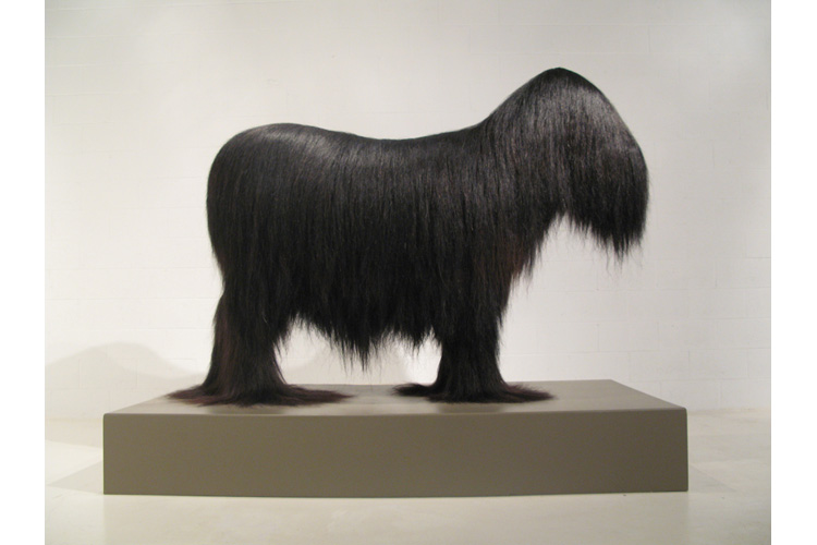 "<b>Cauda Equina, 1995-2007</b><br>approx. 1.4 million hand knotted horse hairs on fabric on taxidermy mannequin with resin.<br>76""L x 24""W x 63""H (horse) 90""L x 48""W x 12""H (base) <b>Collection of the Delaware Art Museum</b>"