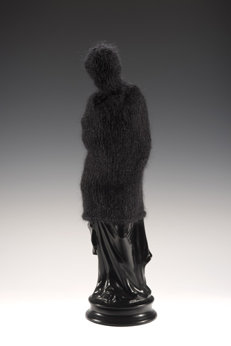 "<b>TheWidow</b><br>20"" x 6"" x 6""<br>re-purposed ceramic, hand knit mohair"