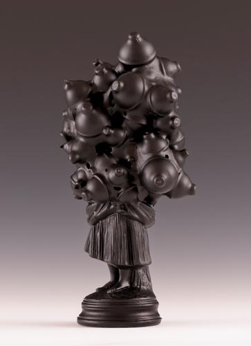 "<b>Untitled #1(Borghese Series), 2012</b><br>Average size:  11"" x 8"" x 5""<br>re-purposed cast chalk figurines, plastic, steel, rubber"